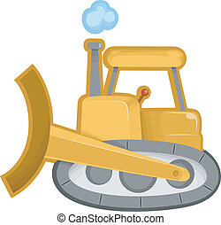 Bulldozer - Cartoon Illustration of of a Bulldozer...