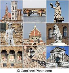 Florence landmarks collage