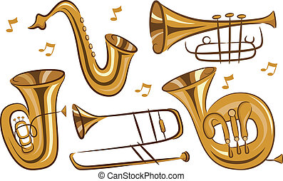 Wind Instruments - Illustration of Wind Musical Instruments...
