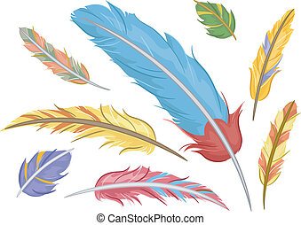 Colorful Feathers - Illustration of Colorful Feathers Design...
