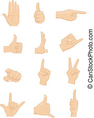 Hand Signs - Illustration of different hand signs