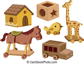 Wooden Toys - Illustration of different wooden toys in white...