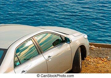 Car parking outdoors closeup photo