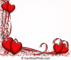 Valentine Border Hearts - Illustrated red hearts and ribbons...