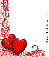 Valentines Day Red Hearts Border - Illustrated red hearts...