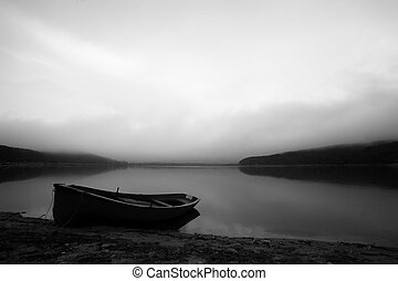 bw boat - calm black and white landscape with lake and...