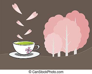 Tea and sakura flower illustration - Tea symbol and flower...