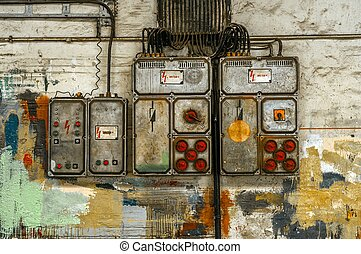 Industrial fuse box on the wall closeup photo