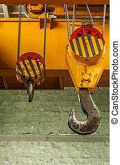 Industrial crane in building