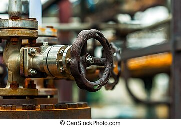 Old industrial water supply parts at power plant