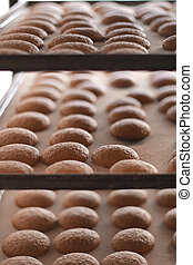 Cookies at the bakery - Cookies still on the oven tray, just...