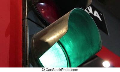 traffic light - Halt signal with a red hand illuminated on...