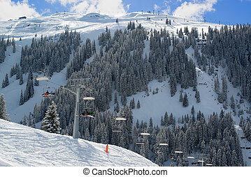 Skilift in Montafon valley - Skilift in a skiing resort in...