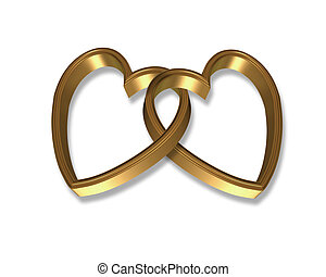 Gold Hearts Linked 3D graphic - 3D illustration 2 golden...