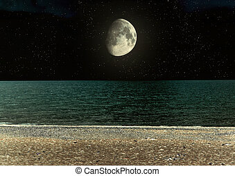 tropical beach - The moon in the night sky in clouds...