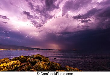 Storm at the beach with dramatic sky