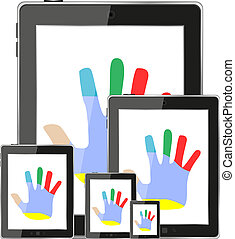 touch tablet pc computer modern technology with hands