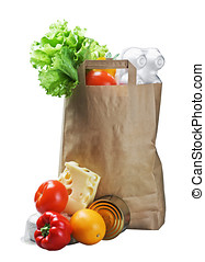 paper bag with food - food in a paper bag isolated on white...