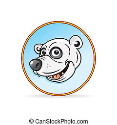 Cartoon Illustration of a Polar Bear Head.