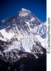 Mount Everest with clear blue sky in the Nepal Himalaya...