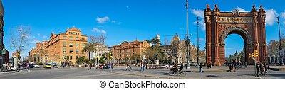 panorama, tiro, triunfo, arco, Barcelona, españa