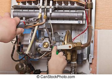 repair of household water heater - repair of the gas water...