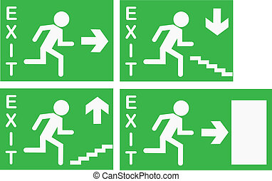 Vector Exit Signs - Various emergency exit signs