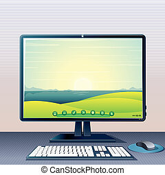 Generic Computer - Desktop PC with Monitor, Keyboard and...