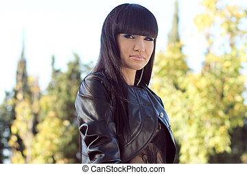Photo of beautiful brunette woman is in modern style, glamur...