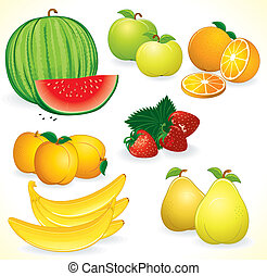 Ripe Juicy Fruits, set of detailed icons