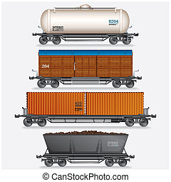 Collection of Train Cargo Wagons, Tanks, Cars
