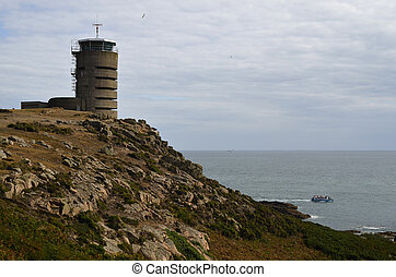 GB, Jersey - Jersey, German WWII watchtower and bunker at La...
