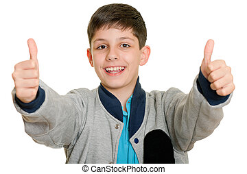 That is very great - A cheerful boy holding his thumbs up on...