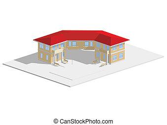 Residenziale, rosso, tetto, casa