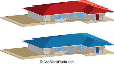Residential house blue&red roof big