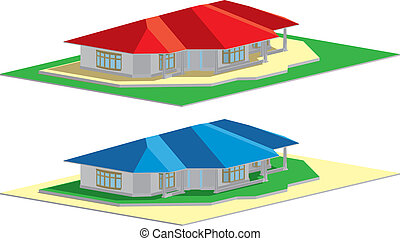 Residential house blue&red roof