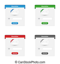 Newsletter forms in various colors