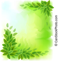 Sunny background with green leaves
