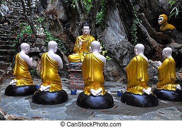 Buddha and his students, Vietnam - A group statue with...