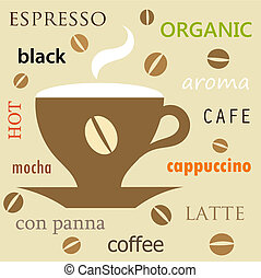 Coffee cup texture - Coffee menu background. Vector...