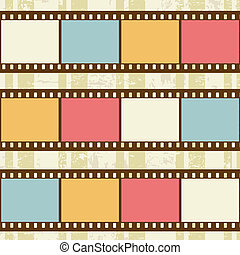 Retro background with film strips on grunge background,...