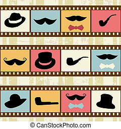 Retro background with film strips, mustaches hats and pipes,...