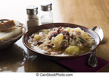 Cabbage stew - Fresh cabbage stew with potatoes, meat and...