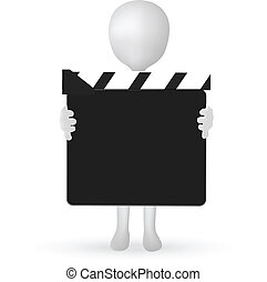EPS Vector 10 - small 3d man hands holding a Clapper board