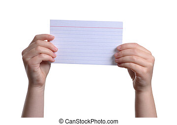 Index Card - child holding a blank paper