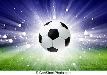 Soccer ball, stadium, light - Sports background - soccer...