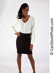 Pretty black woman in white blouse - Pretty black woman in a...