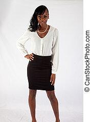 Pretty black woman in white blouse - Pretty black woman in a...
