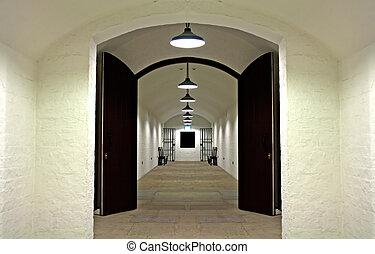 Old prison cell block - Looking down corridor in old prison...