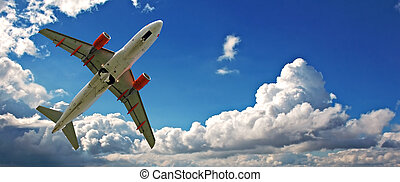 Holiday jet with beautiful blue sky - Holiday jet against...